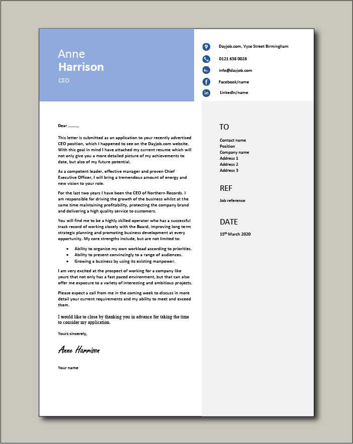 Free CEO cover letter example 3