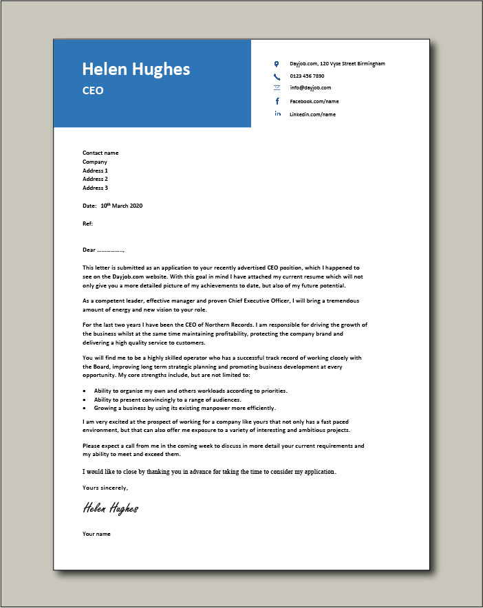 Free Ceo Cover Letter Example 4