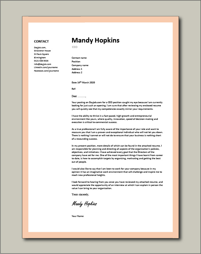 Free CEO cover letter example 5
