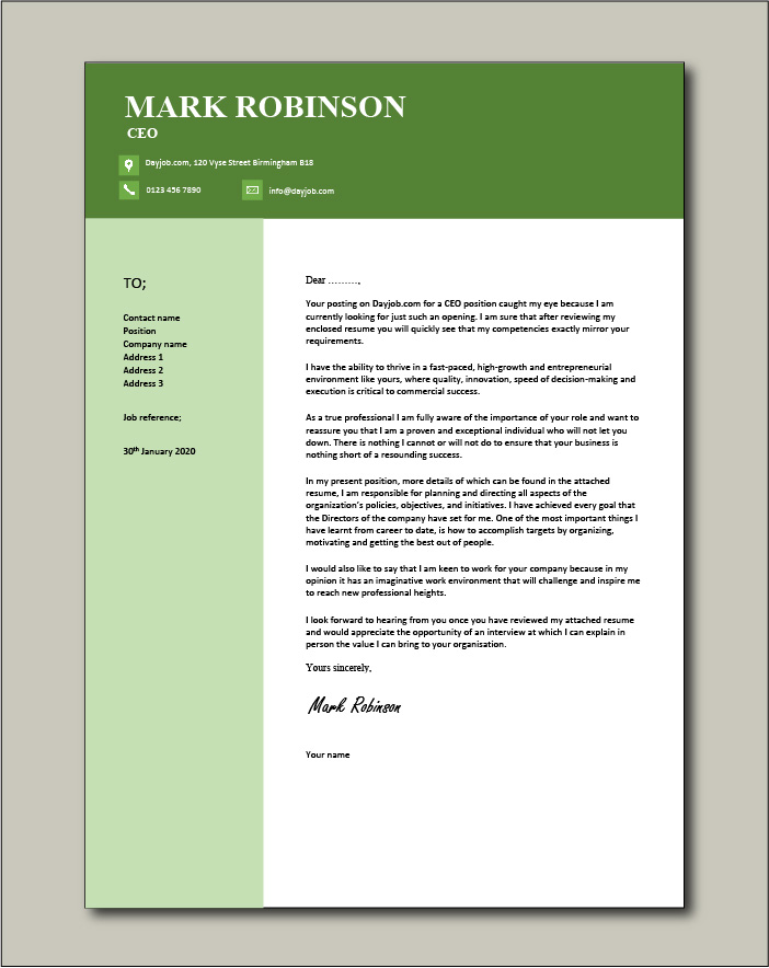 Free CEO cover letter example 6