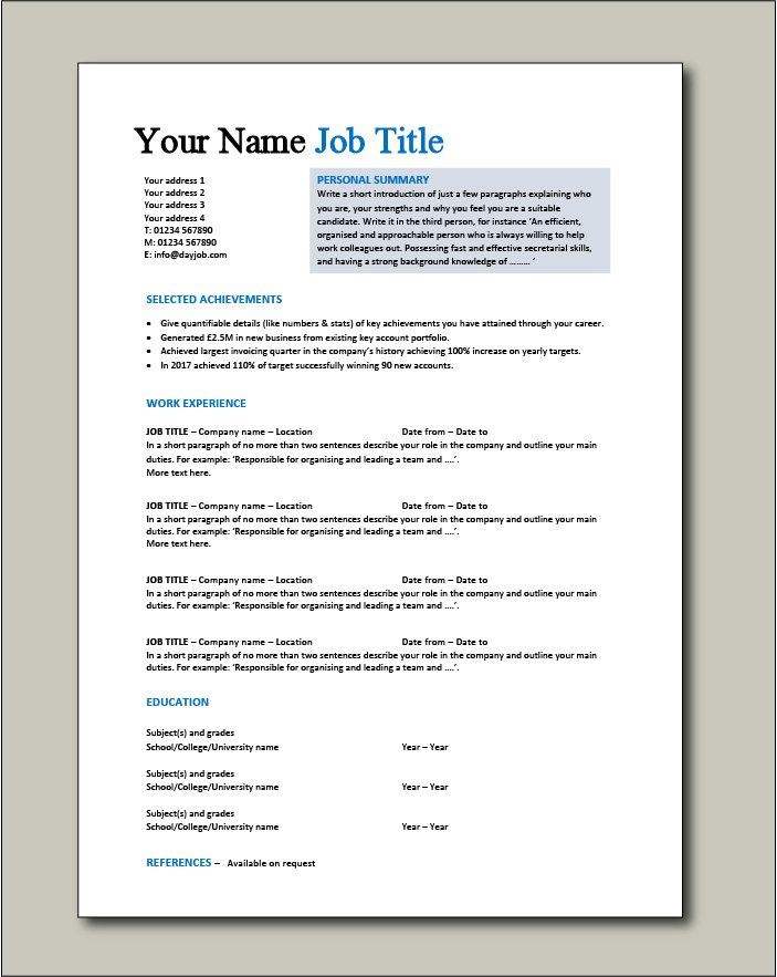 Free CV template 1 - 1 page