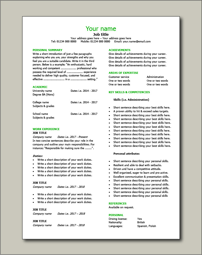 Free CV template 10 - 1 pages