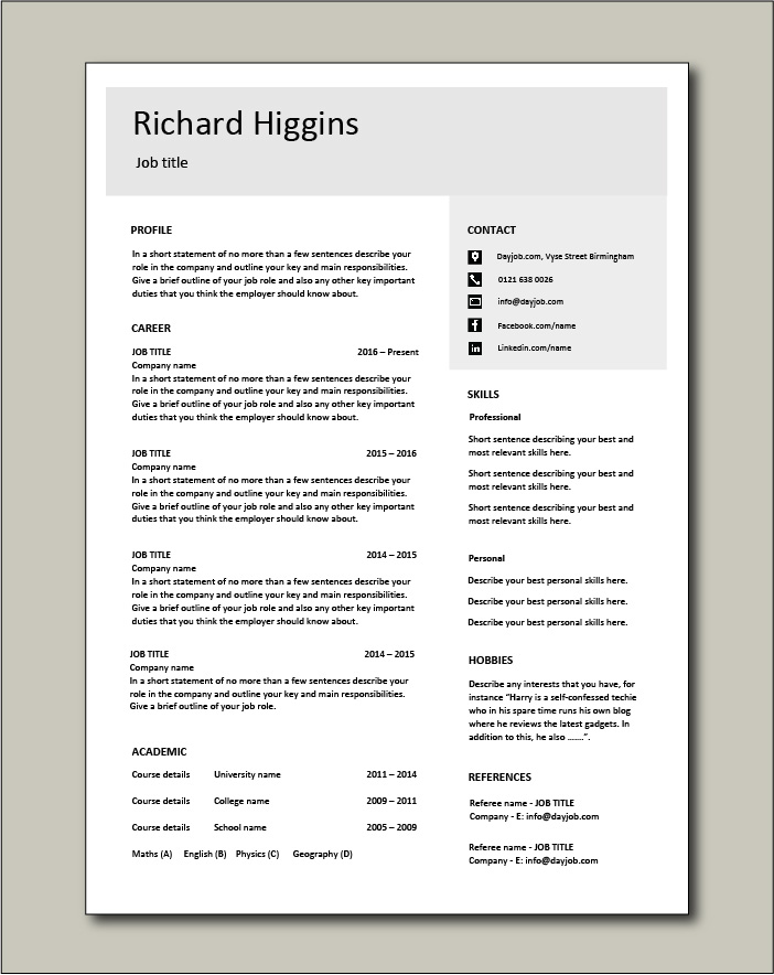 Free CV template 14 - 1 page