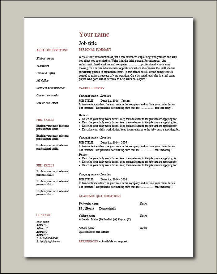 Free CV template 2 - 1 page