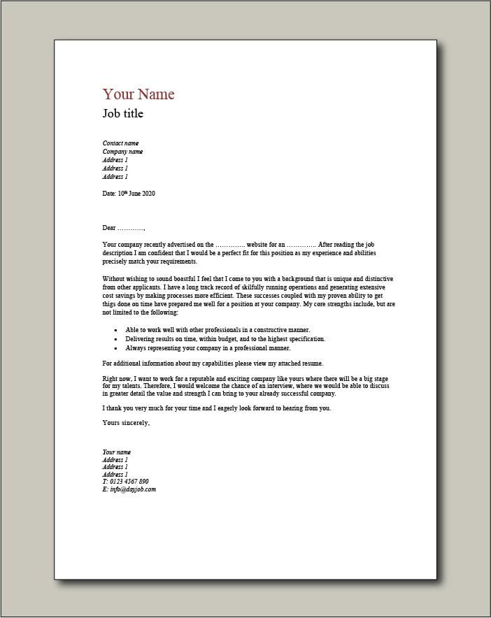 CV template 2 Cover Letter