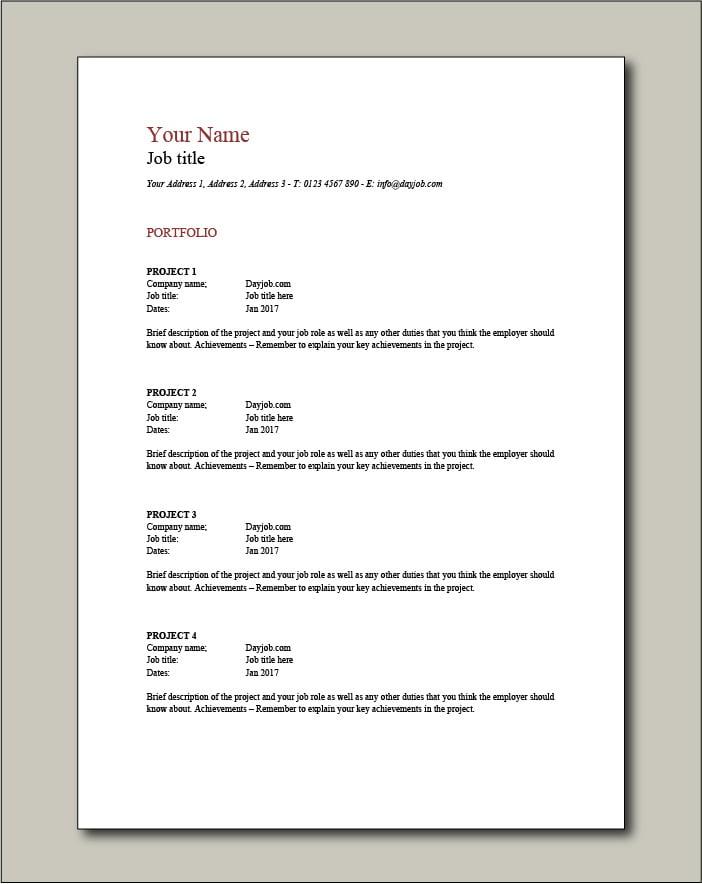 CV template 2 - Portfolio
