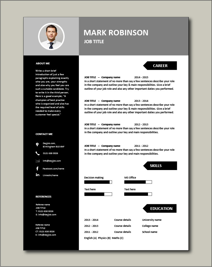 Free CV template 22 - 1 page