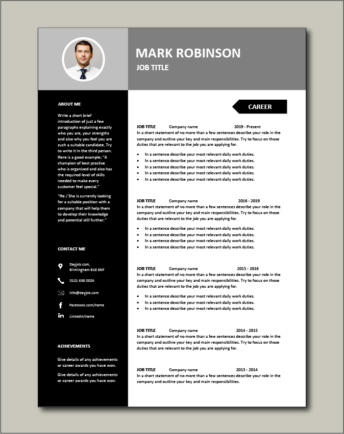 Free CV template 22 - 2 pages