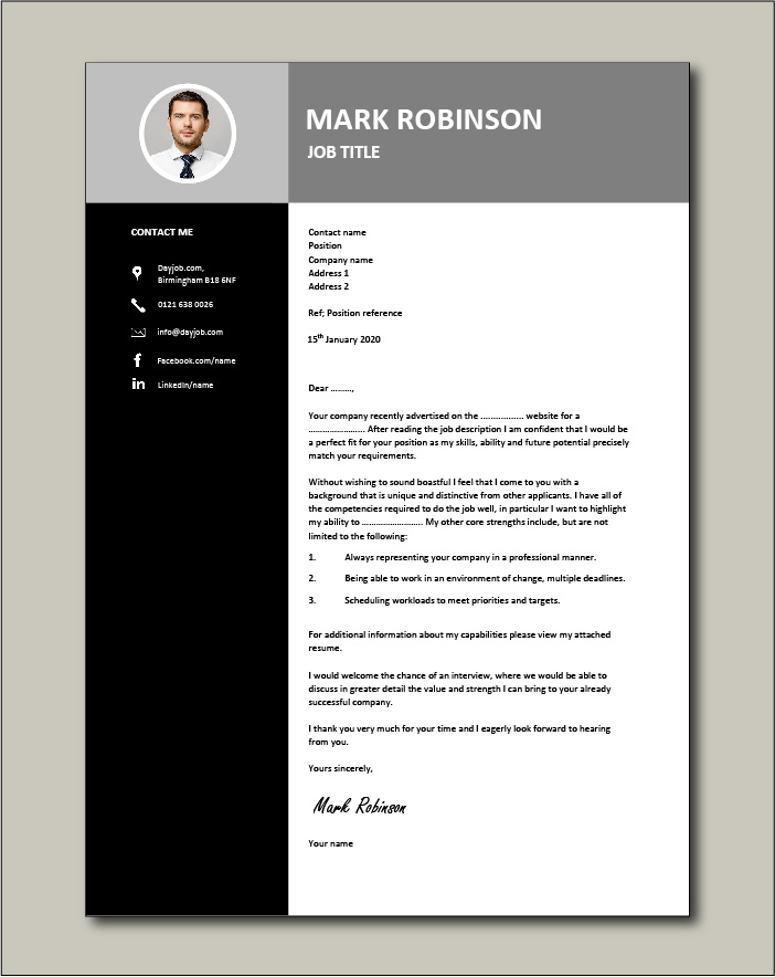 Free CV template 22 - Cover letter