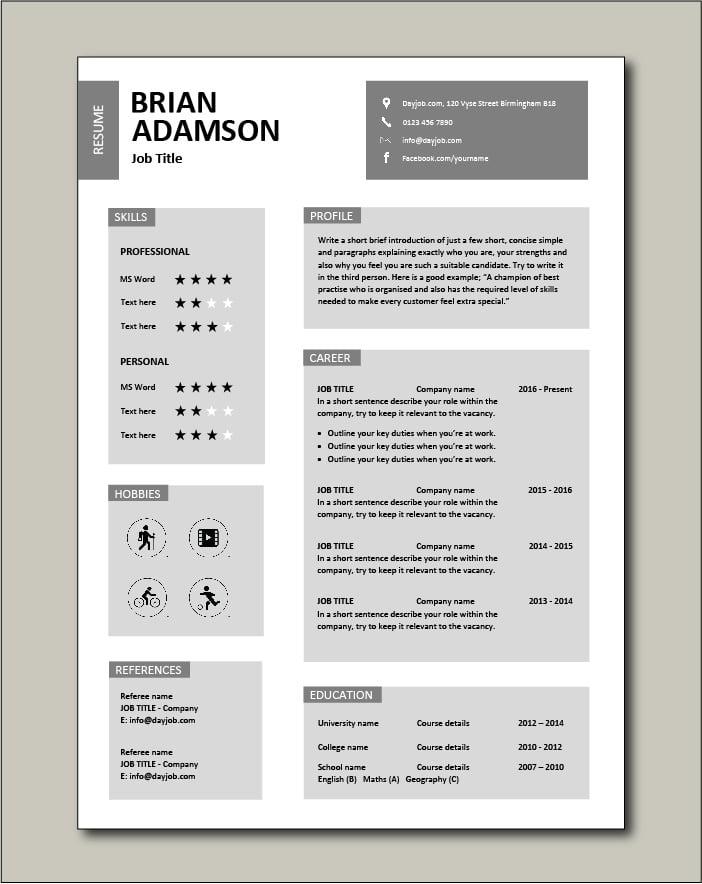 Free CV template 27