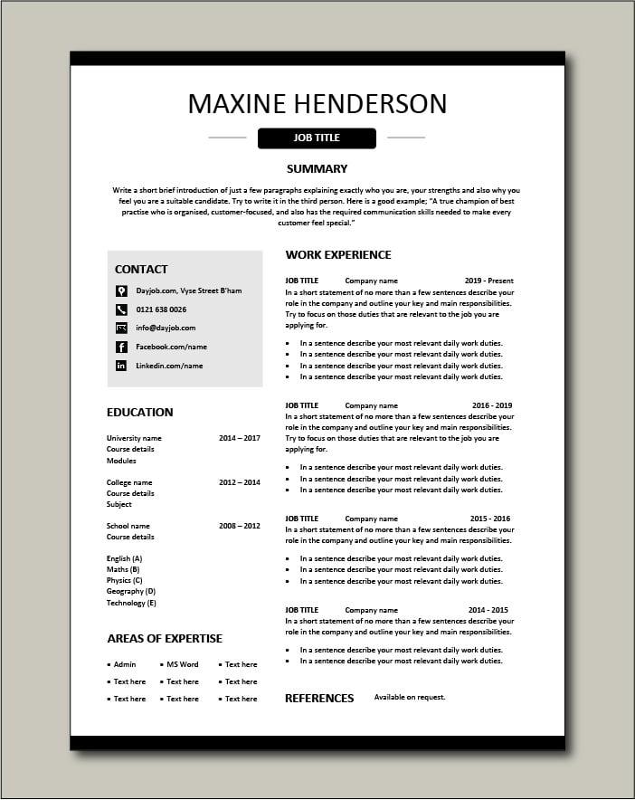 Free CV template 40