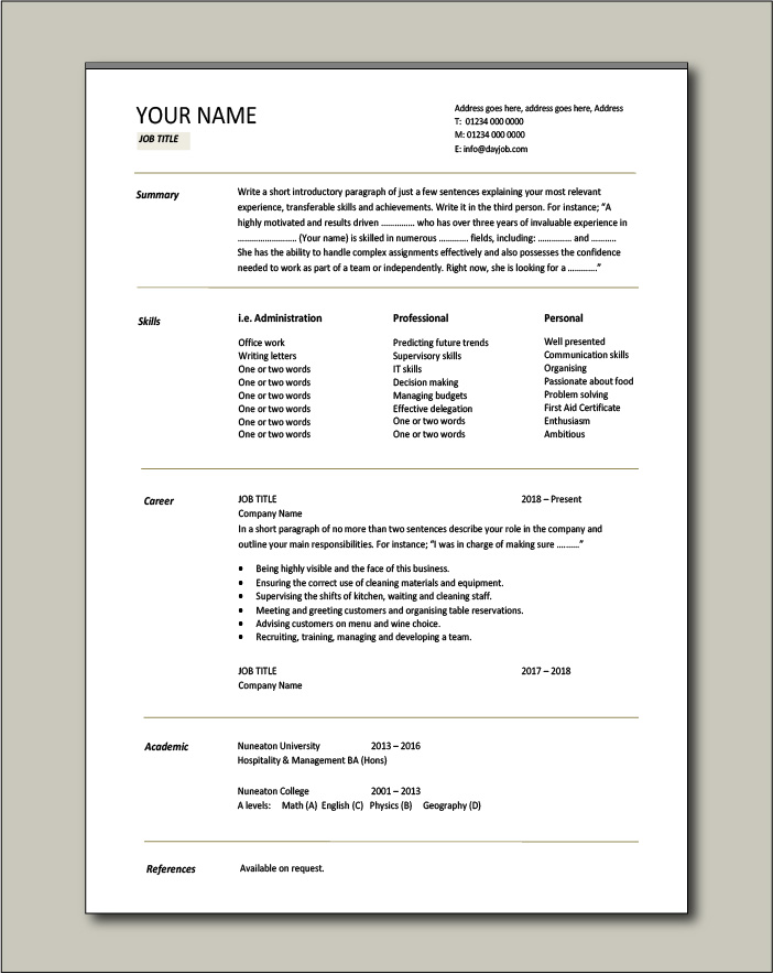 CV template 5 - 1 page