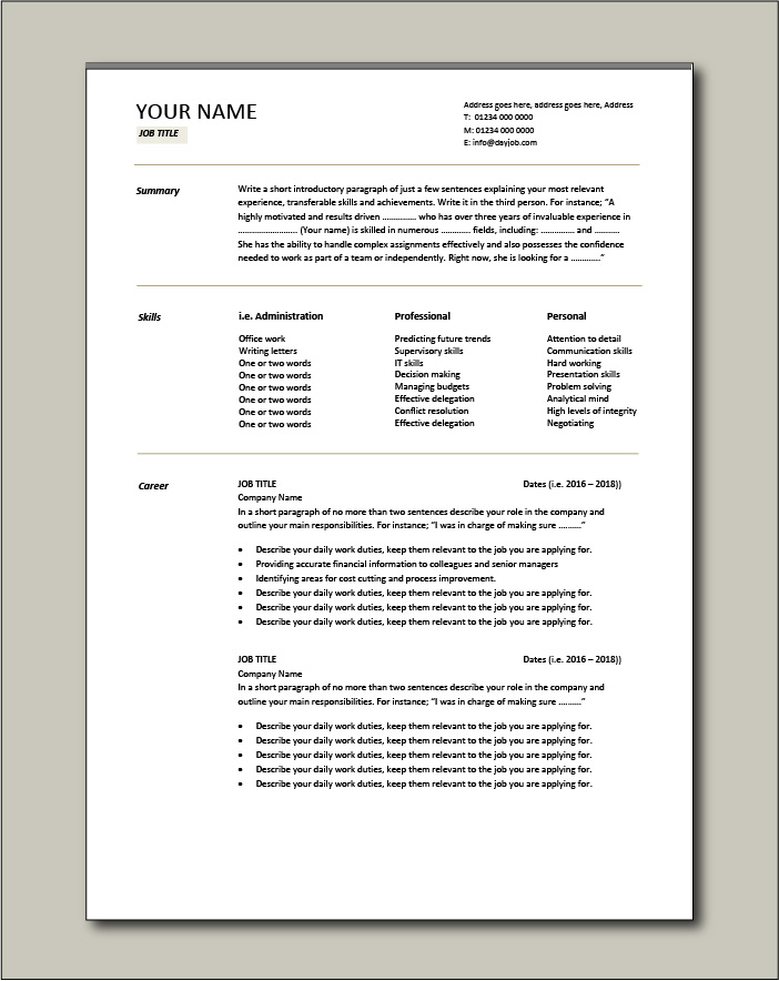 Free CV template 5 - 2 page