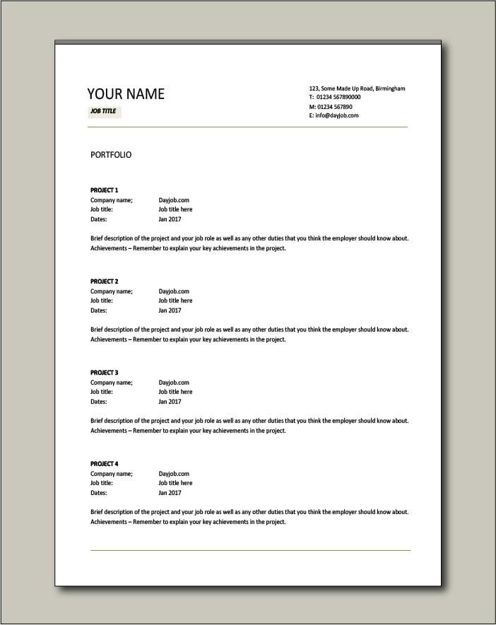 Free CV template 5 - Portfolio
