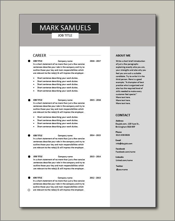 Free CV template 6 - 2 pages