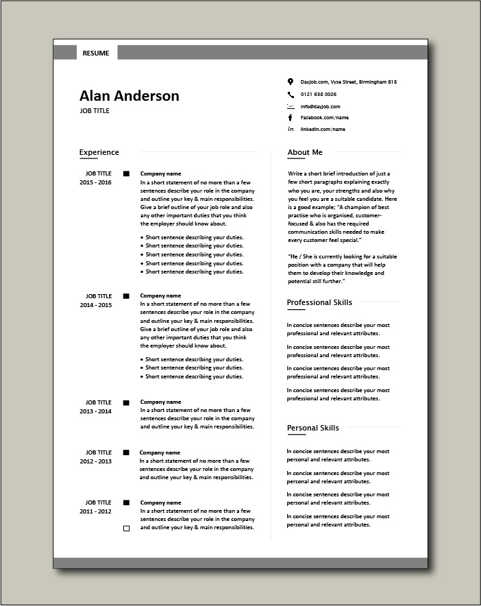 Free CV template 7 - 2 pages