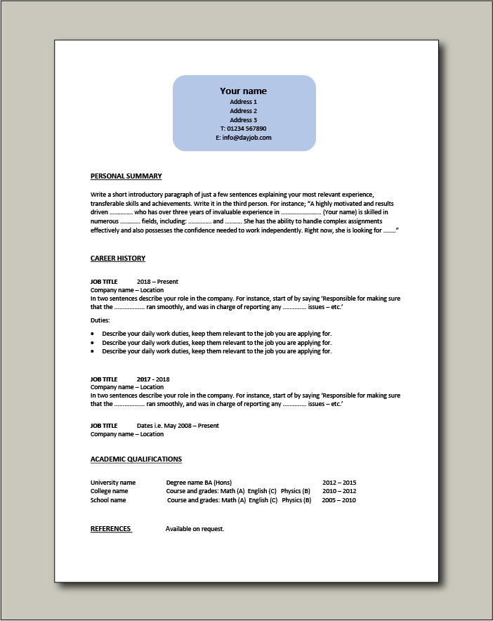 Free CV template 8 - 1 page
