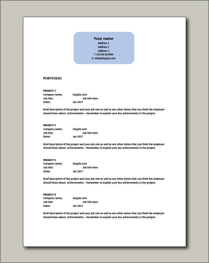 Free CV template 8 - Portfolio