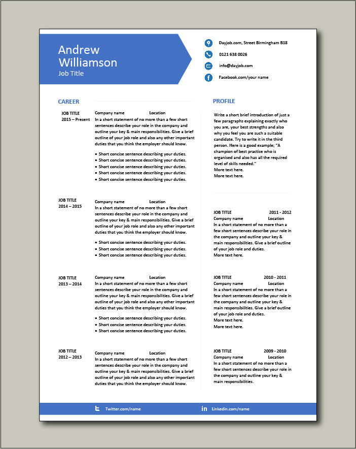Free CV template 9 - 2 pages