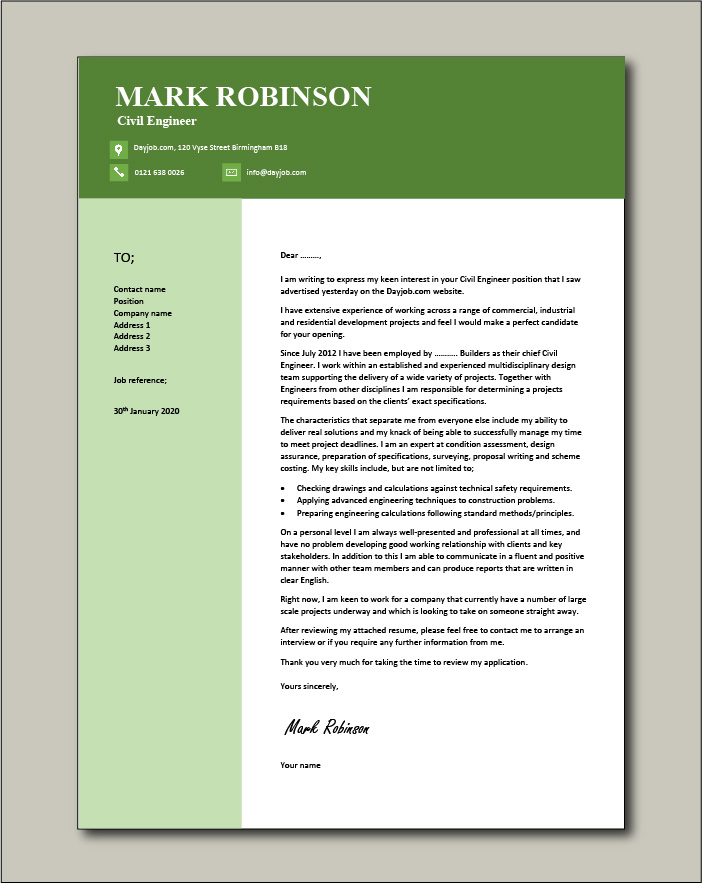 Free Civil Engineer cover letter example 6