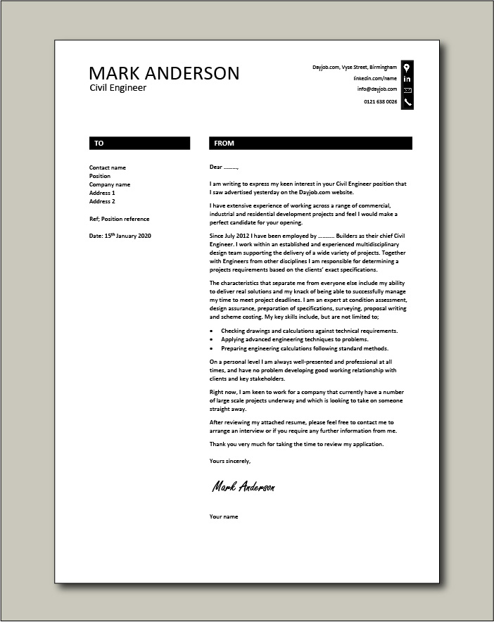 Free Civil Engineer cover letter example 8