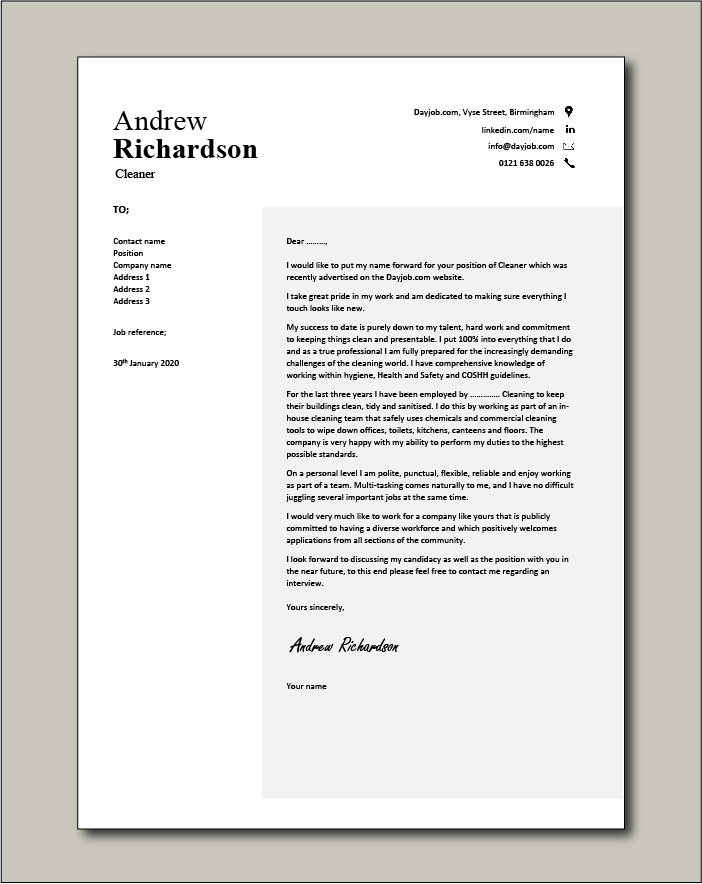 Free Cleaner cover letter example 2