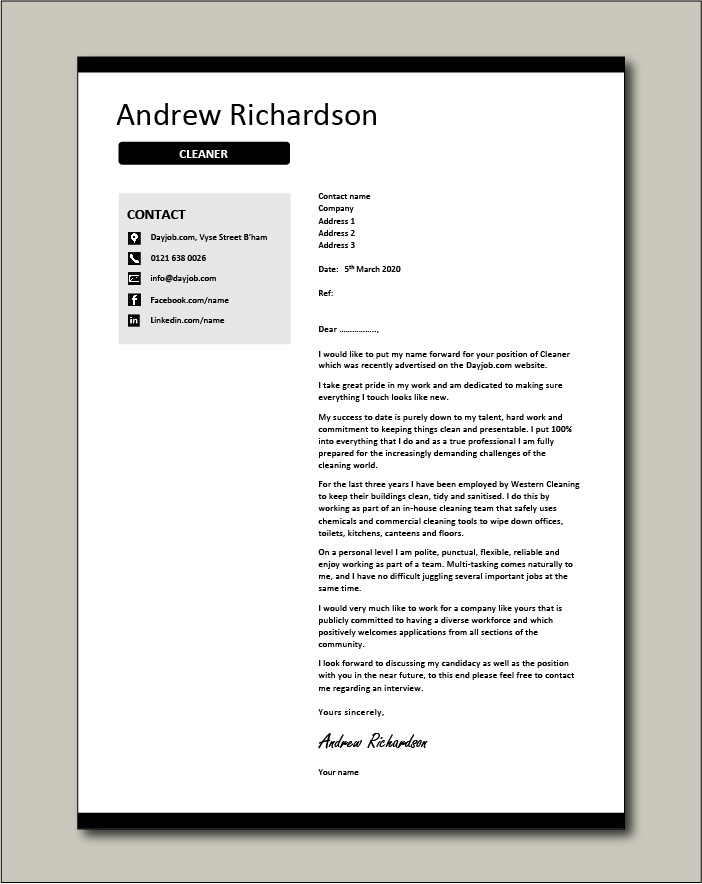 Free Cleaner cover letter example 3