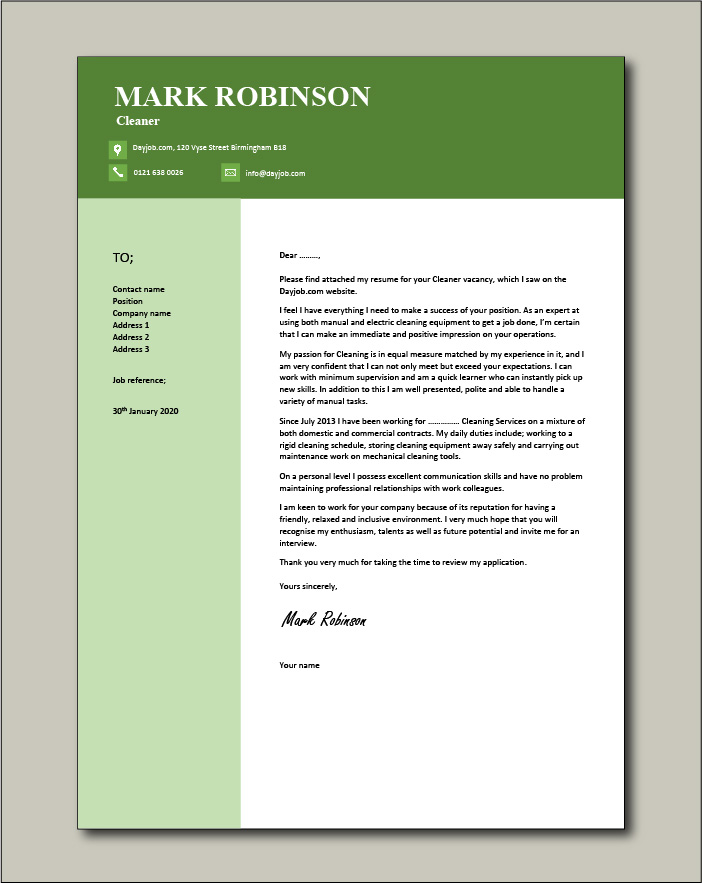 Free Cleaner cover letter example 4
