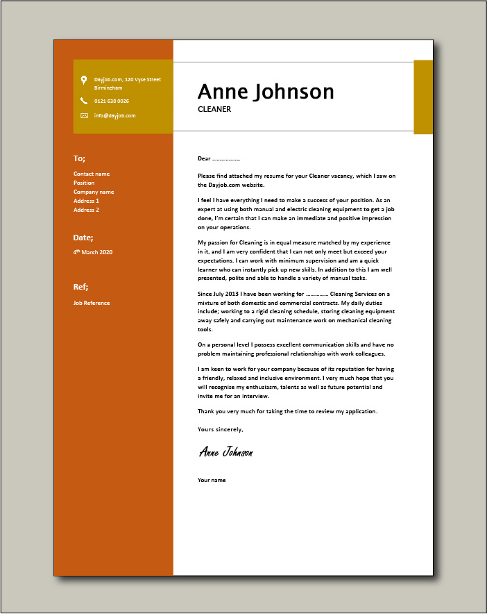 Free Cleaner cover letter example 5