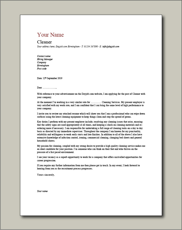 Free Cleaner cover letter example 7