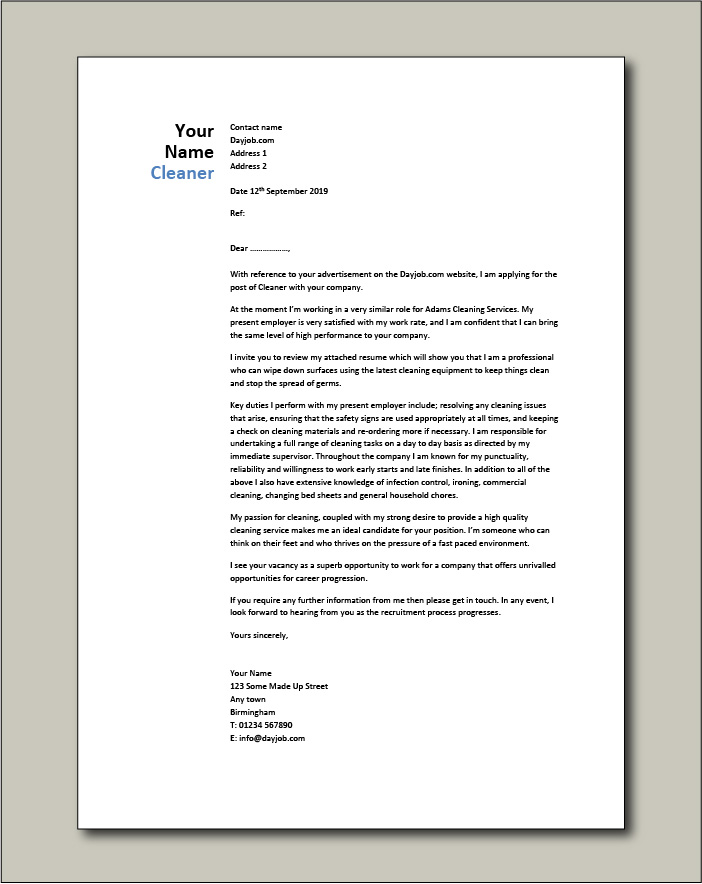 Cleaner Cover Letter Example Sample