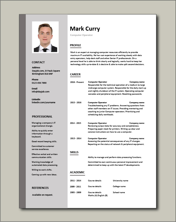 Computer Operator Resume It Job Description Example Sample Server Technology Career History