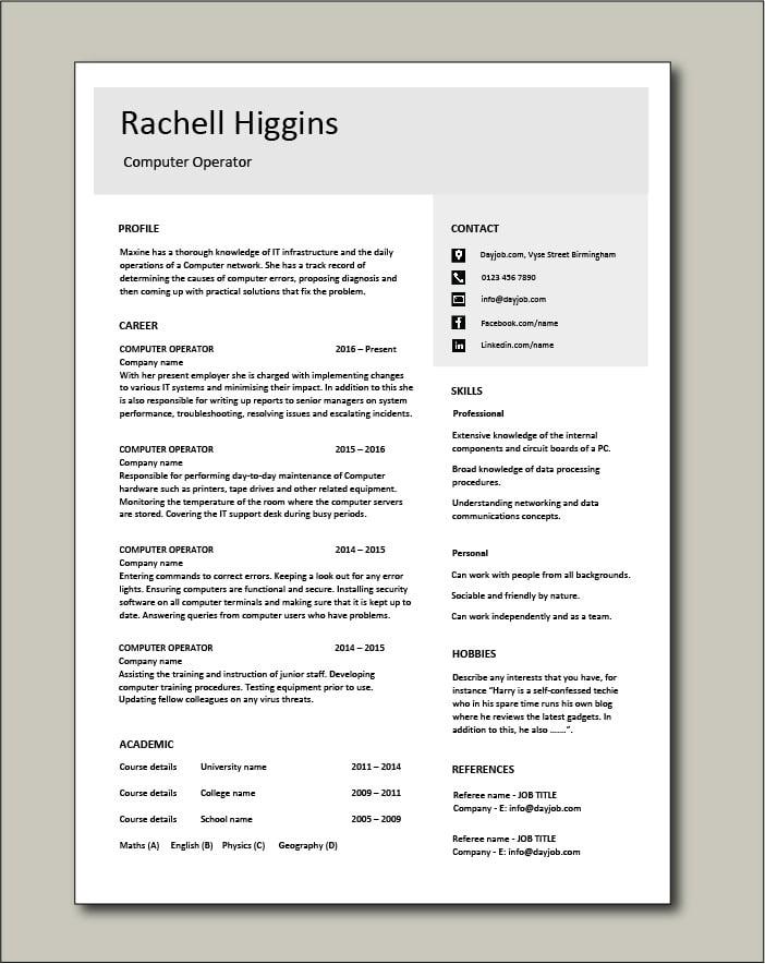 Free Computer Operator CV template 4