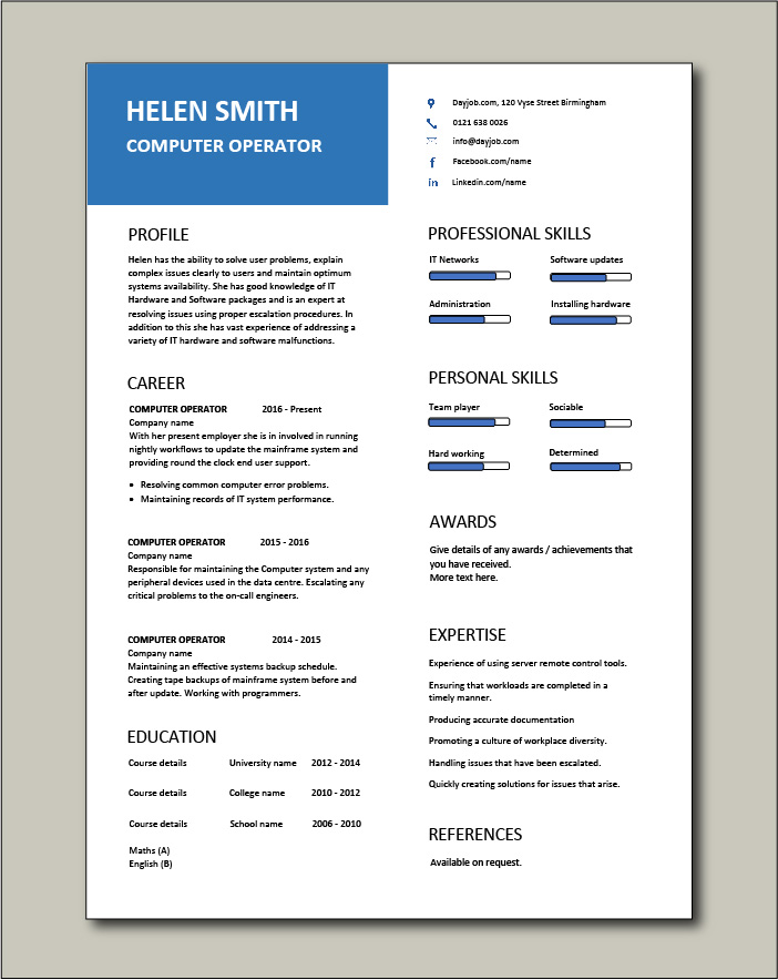 Free Computer Operator CV template 7