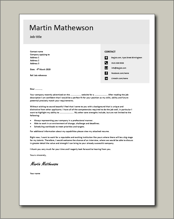 Free Cover letter example 10