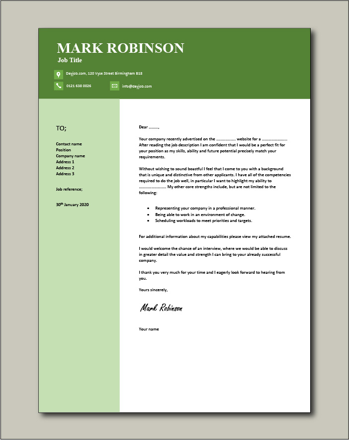 Free Cover letter example 14