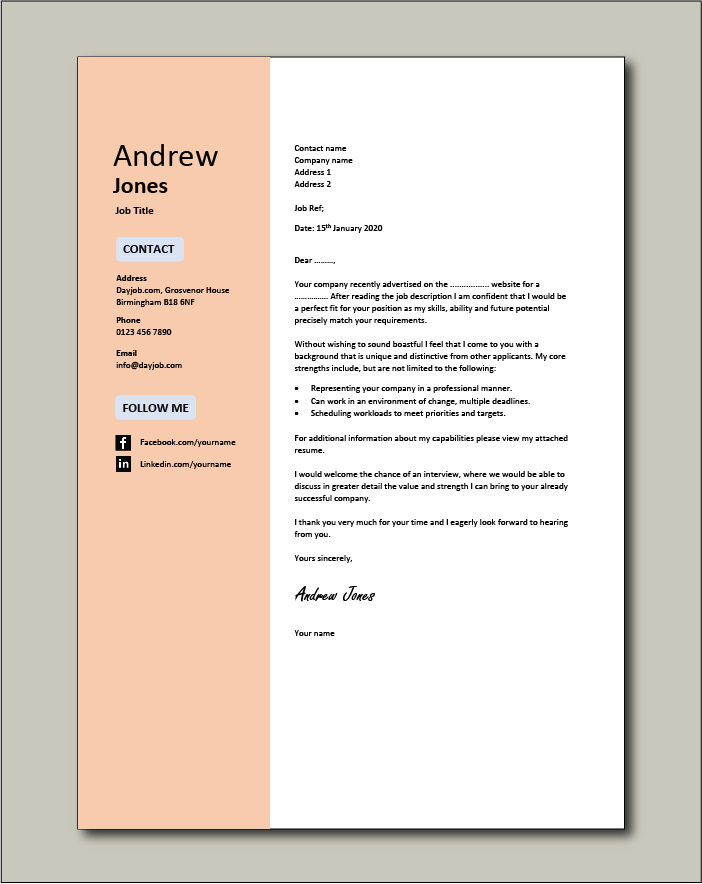 Email Cover Letter Templates from www.dayjob.com