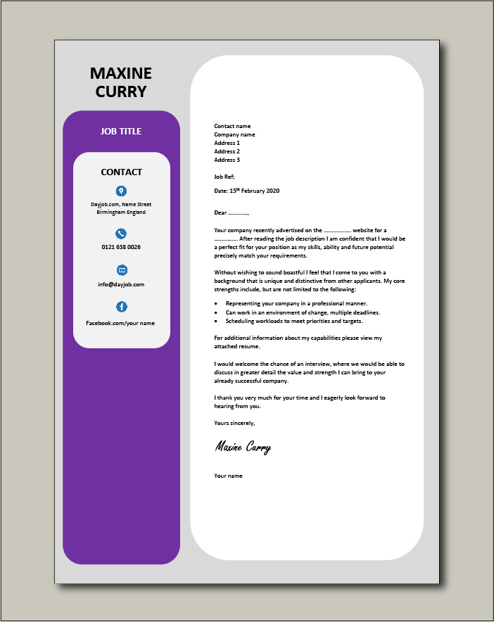 Free Cover letter example 38 purple color