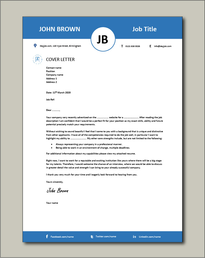 Free Cover letter example 39 blue top