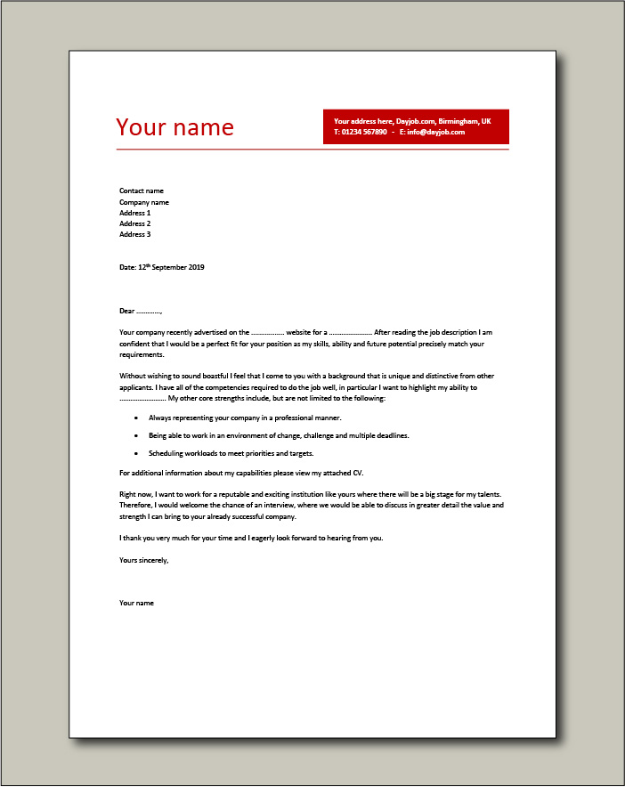 Sample Job Application Covering Letter from www.dayjob.com