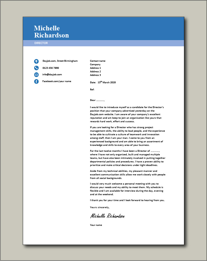 sample cover letter director it