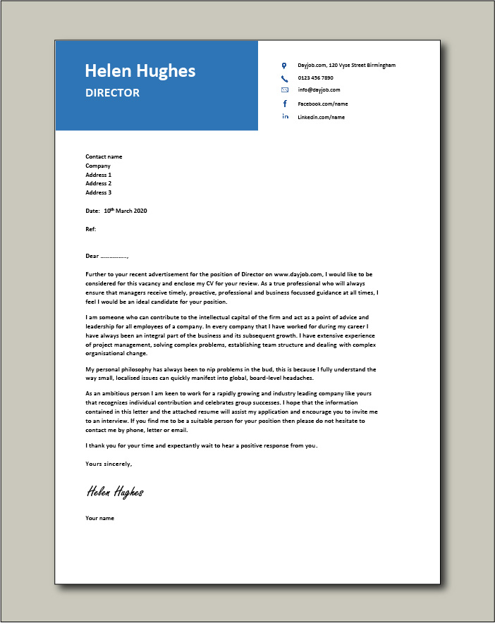 Free Director cover letter example 4