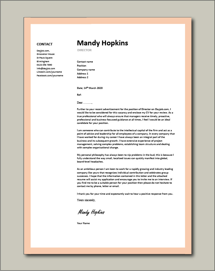 Free Director cover letter example 5