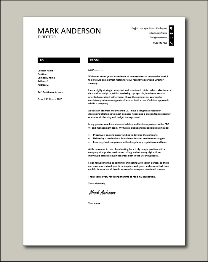 Free Director cover letter example 8