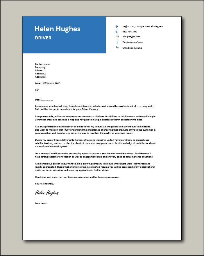 Free Driver cover letter example 4