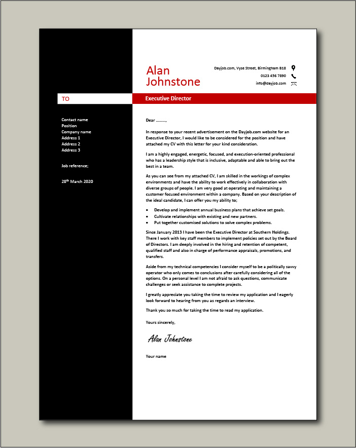 Free Executive Director cover letter example 3