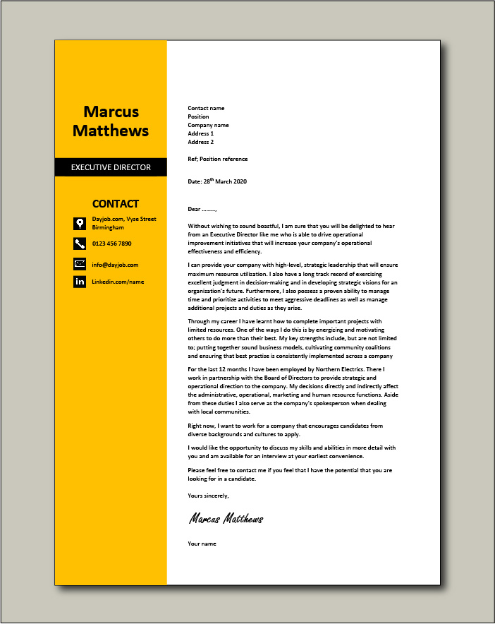 Free Executive Director cover letter example 4