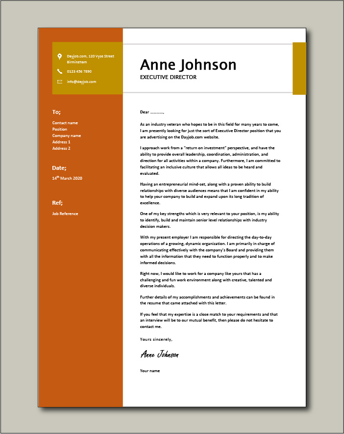 Free Executive Director cover letter example 6
