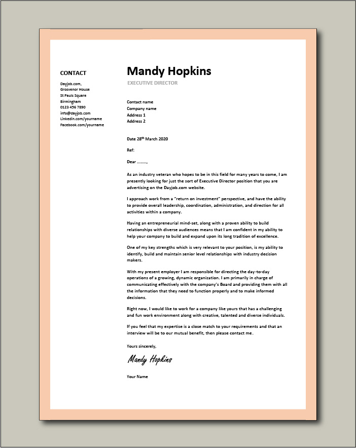 Free Executive Director cover letter example 8