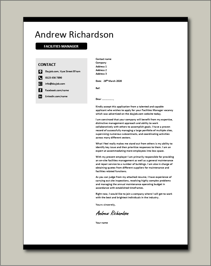 Facilities Manager Cover Letter Example Maintenance Building Work Cv Tips On Writing Letters